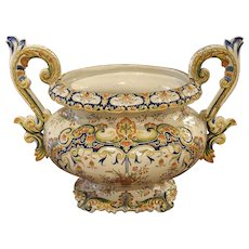 Antique French Urn, Decor Rouen Circa 1910