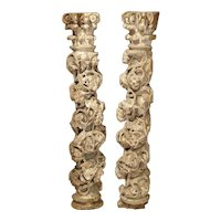 Pair of 17th Century Carved and Polychromed Table Columns from Italy