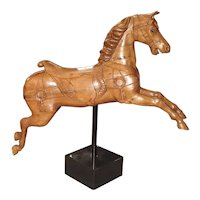 Circa 1900 Wooden Jumping Horse on Stand from Barcelona Spain