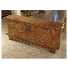 Oak Trunk from France with Detailed Hand Carved Front Panel