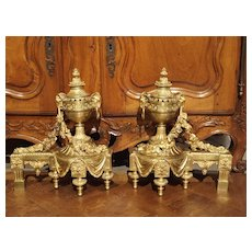 Pair of Napoleon III Gilt Bronze Chenets from France