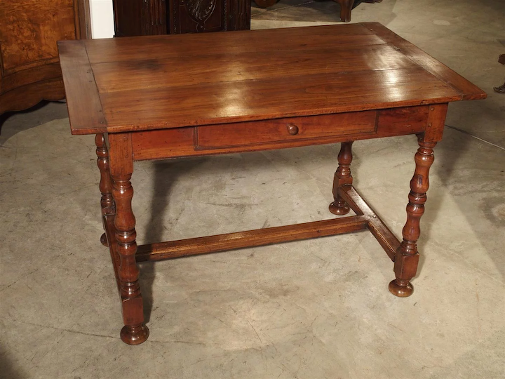 Antique Cherry And Walnut Wood Side