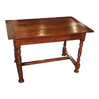 Antique Cherry and Walnut Wood Side Table, 18th Century
