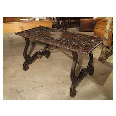 Antique Renaissance Style Walnut Wood Center Table from Italy, 19th Century