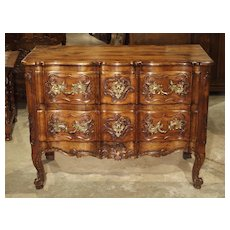 18th Century French Walnut Commode Sauteuse Top is 19th century