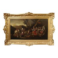 18th Century Italian Oil Painting on Canvas in Giltwood Frame