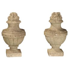 """Pair of Carved Antique Limestone """"Pots A Feu"""" from France, 19th Century"""