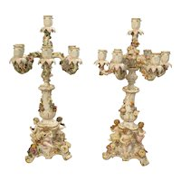 Pair of Antique Meissen Candelabras, Germany Circa 1910