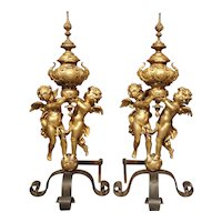 Pair of Large Antique Bronze Dore Andirons from France, Circa 1860