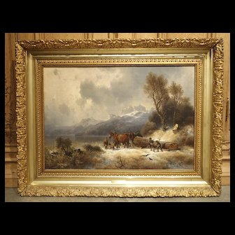 Antique Oil on Canvas, Mountain Horse Logging Scene, Germany 1867