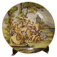Large Antique Italian Majolica Platter, Bacchus and Ariadne