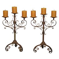Pair of Small Early 1900s Wrought Iron Candelabras from Italy
