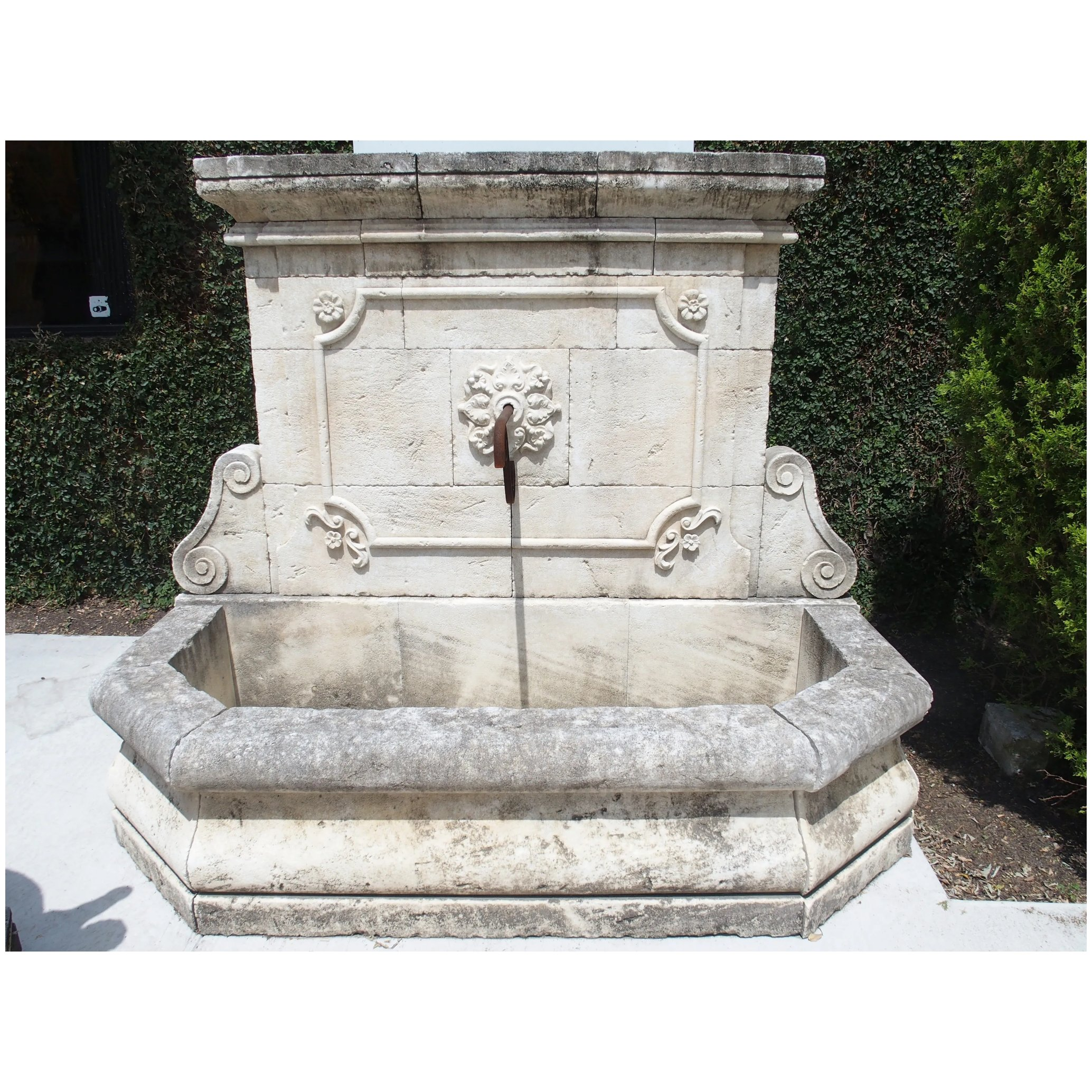 Large Carved Stone Wall Fountain From