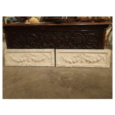 Pair of Small Louis XVI Style Plaster and Wood Panels from France