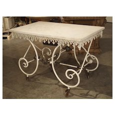 19th Century French Iron Pastry or Butchers Display Table with Carrara Marble Top