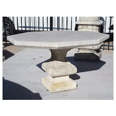 Carved Octagonal Limestone Balustrade Table From Italy