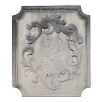 Carved Italian Limestone Plaque with Rampant Lion