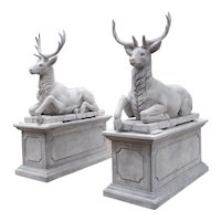 Pair of Life-Sized Italian Carved Limestone Stags on Pedestals
