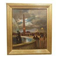 Evening at La Place de la Concorde, Paris by Paul Balmigere (1882-1953)