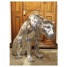 Life-Sized Aluminum Panther by French Sculptor Christian Maas