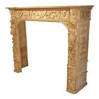 Highly Carved Oak Renaissance Style Fireplace Mantel from France, 19th Century