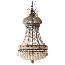 Small Antique French Louis XVI Style Crystal Chandelier, 19th Century