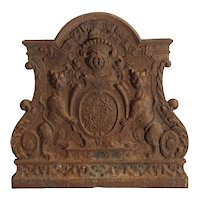 Antique Cast Iron Coat of Arms Fireback, 'Mors Aut Vita Decora'