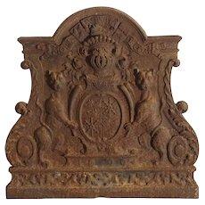 Antique Cast Iron Coat of Arms Fireback, 'Mors Aut Vita Decora'