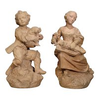 Pair of Antique Terra Cotta Statues, Paris, Circa 1880