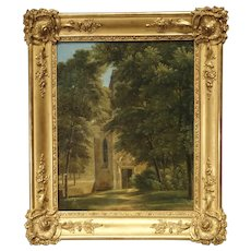 Small 19th Century French Oil Painting depicting a Stone Chapel in a Forest