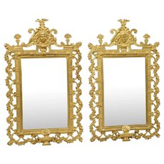 Pair of Antique French Bronze Dore Mirrors with Mascarons and Floral Motifs, Circa 1880
