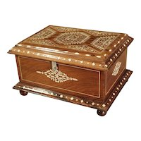 Antique Bone Inlaid Table Trunk from Southern Iberia, 19th Century