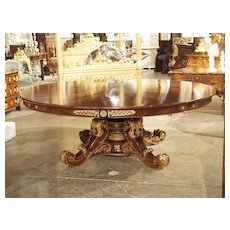 Spectacular Walnut and Walnut Veneer French Chateau Table, Circa 1830