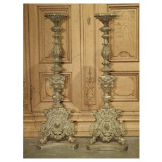 Pair of 18th Century Parcel Paint and Gilt Candlesticks from France, 40.5 Inches Tall