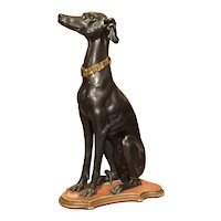 Early 1900's Italian Carved and Painted Greyhound Statue