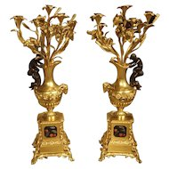 Pair of Antique French Bronze Dore Candelabras, Victor Paillard 1805-1886