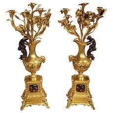 Pair of Antique French Bronze Dore Candelabras, Victor Paillard 1805-1886