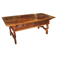 17th Century Catalan Walnut Wood Desk