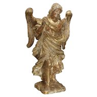 Beautiful French Parcel Paint and Giltwood Angel Statue Carved from a Single Piece of Wood