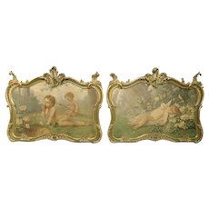 Pair of 19th Century Louis XV Style Overdoor Paintings from Italy