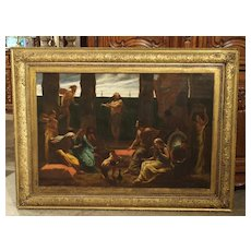 Antique English Oil Painting in a J & W Vokins Giltwood Frame, 19th Century