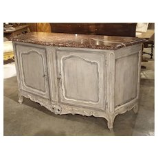 Large Painted Antique Buffet with Marble Top, Provence, Late 19th Century