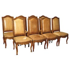Set of 8 Antique Regence Style Leather Dining Chairs from France