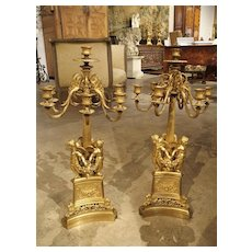 Pair of Antique French Gilt Bronze Candelabras