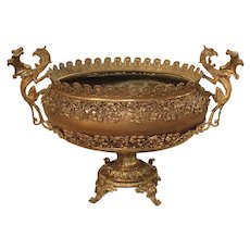 Antique Copper, Bronze, and Mixed Metal Planter from France, Early 1900s