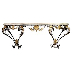 Antique Forged Iron and Gilt Tole Console Table with Marble Top from Provence France, Circa 1850