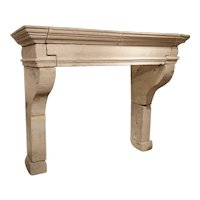 Antique Louis XIII Style Limestone Fireplace Mantel From The Loire Valley
