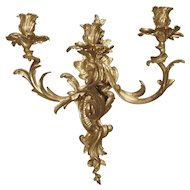 Single 3 Arm Rococo Style Bronze Dore Wall Sconce from France