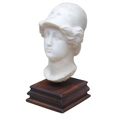 Circa 1800 Italian Marble Head on Wooden Base