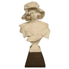 Antique French Marble Bust of a Young Woman, Wooden Base, Early 1800s